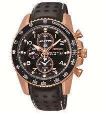 New Seiko SSC274 Sportura Solar Chrono Rose-Tone Men's Leather Strap Watch