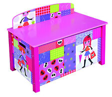 Girls Wooden Toy Chest Large Pink Storage Box Bench Seat Kids Bedroom Furniture