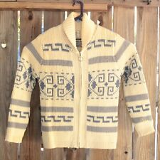 VTG Pendleton Cardigan Sweater Western Lebowski Shawl Collar Zip Dude Blue Large