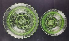 Small & Large Uranium Green Pressed Glass Fruit, Trifle, Dessert Bowls