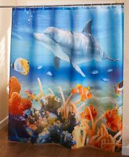 Dolphin Fish Photo Real Shower Curtain Under The Sea Beach Coastal Bath Curtain