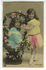 c 1909 Child Children PRETTY LITTLE GIRLS tinted photo Postcard TRAUT RPPC