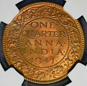 India British 1941(C) 1/4 Anna NGC MS65RB Certified (TOP-POP)