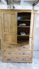 Rustic Plank Pine Furniture New Real Solid Wood Tall Cupboard Unit Sideboard