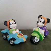 Disney Mickey Mouse Racing Figurines Motorcycle Racecar Race Car Ceramic Enesco
