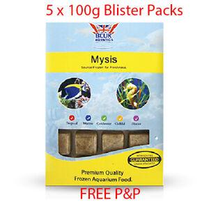 BCUK Frozen Fish Food- 5 x 100g Blister Packs-Mysis Shrimp --FREE P&P