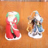 2 Santa Claus Christmas Decor Figurines Decorations Candle Ornament