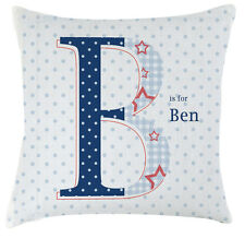 Personalised polka dot blue shabby chic childrens name letter cushion