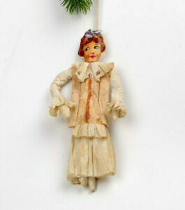 Antique Victorian Christmas ornament, girl with crinoline,crepe paper.Germany