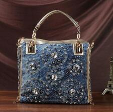 denim jean women handbags designer rhinestone shoulder bags messenger bag totes