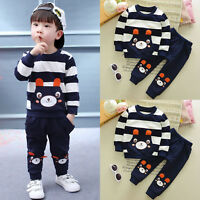 2pcs Toddler Kids Baby Boys Bear Tracksuit Pullover Top+Pants Clothes Outfits