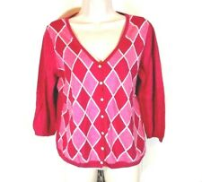 Talbots Cardigan Sweater Argyle Women Size PL Pink 3/4 Slv Cotton Rayon Silk