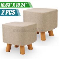 2PCS Vanity Soft Furry Ottoman Nursery Wooden Step Stool Padded Seat Foo