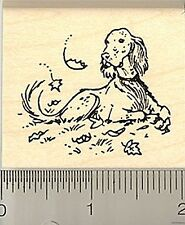 English Setter Relaxing rubber stamp Wood Mounted G8402