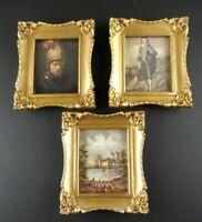 Vintage Lot 3 Ornate Gold Picture Frames Illinois Molding Plastic