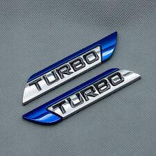 2Pcs Blue Metal Chrome Turbo Door Fender Car Emblem 3D Sport v6 v8 Badge Sticker