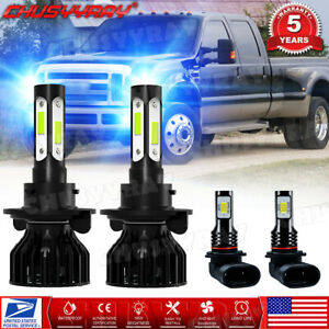 For 2004-2014 Ford F150 8000K LED Headlight Hi/Lo + Fog Light 4 Bulbs Combo kit