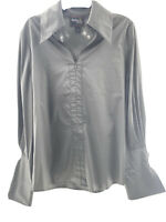 Rara Avis by Iris Apfel EUC Grey Collared Bell Sleeves w Neck Straps Size L. NWT