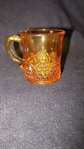 "EAPG - Jefferson Glass -. ""Button Arches"" golden yellow mug"