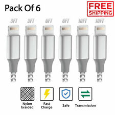 6 Pack Apple MFi Certified Iphone Fast Charger Cable Cord 12/11/XS/X/8/7/6 Plus