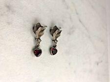 Heart Drop Earrings Sterling Silver Vintage
