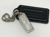 COACH Fob Double Black&Crystals Silver Metal Charm Hangtag Keychain-longest 2.5""