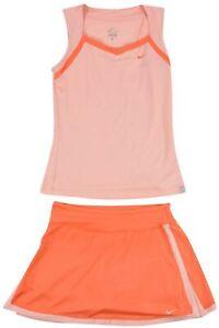 Nike Girls Kids Dress Tank Top Pink Peach Skirt Dri Fit TENNIS Sz S Original