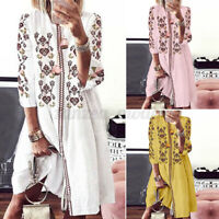 ZANZEA Bohemian Women Summer Holiday Party Club Long Shirt Dress Floral Sundress