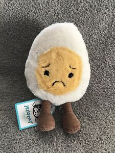 Jellycat Sorry Boiled Egg Amusables Plush Lovey Yolk Sad Stuffed Animal Toy