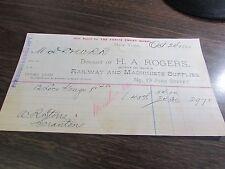 H.A. ROGERS - RAILWAY & MACHINISTS SUPPLIES  - NEW YORK  - BILLHEAD - 1885