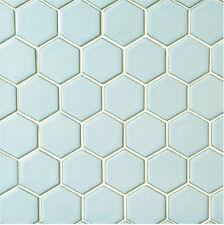 Hexagon Gloss rustic duck egg 4.8 x 4.8