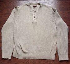 Bass Earth Men's Half Button Cowl Neck Cotton Sweater Size MEDIUM