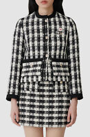 $875 Maje Women's Black Vicky Check Tweed Button Front Jacket Coat Size 36/US 4