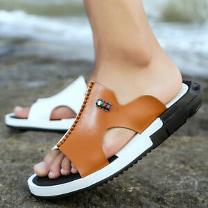 Men's Open Toe Leather Sandals Flats Slippers Casual Beach Walking Comfort Shoes