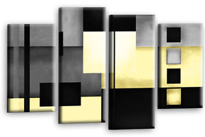 """Large ABSTRACT ART Pic. Cream Black Beige Check Wall Canvas Split Print 44 x 30"""""""