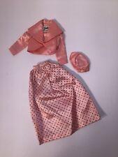 Vintage Barbie Outit Pink Lady Polka Dot 1950s 1960s W Hat Vest Skirt Satin