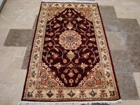 Mid Night Red Floral Medallion Area Rug Hand Knotted Wool Silk Carpet (5 x 3)'
