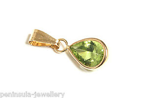 9ct Gold Peridot Teardrop Necklace Pendant No chain Gift Boxed Made in UK
