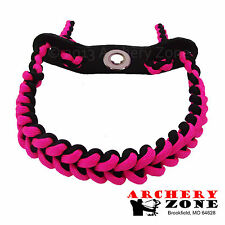PINK & BLACK Shark Tooth Weave Bow paracord wrist sling w/ Leather yoke Archery