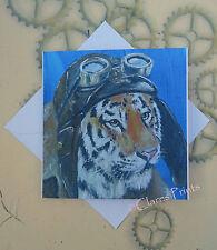 Flying Tiger en Blanco Tarjeta De Arte Pintura Original Arte Steampunk Gafas de gato
