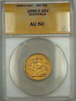 1896-S Australia Sovereign Gold Coin ANACS AU-50