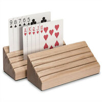 Playing Card Holder Solid Wood Wooden Poker Party Playing Accessories Poker BU_X