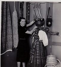 Old Antique Photograph Woman in Store Dressing Mannequin in African Clothing