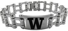 UNIVERSITY WASHINGTON HUSKIES UW * Stainless Steel Bike Chain Bracelet w/Logo
