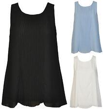 Plissee Damenbluse Damen Bluse Top Shirt Tunika Büro Falten Ärmellos Italy 36 38