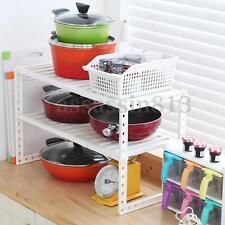 Kitchen Cabinet Shelf Storage Space Saver Bathroom Adjustable Organizer Rack HOT