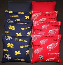 All Weather Detroit Red Wings & Michigan wolverines Aca Cornhole Bean Bags