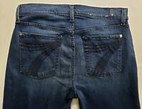 7 for All Mankind Dojo Womens Denim Blue Jeans Size 30 x 32 Wide Leg Dark Wash