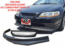 1998 00 Honda Accord Coupe Carbon Print HC1 Style Front Lip & Type R Grill NonV6