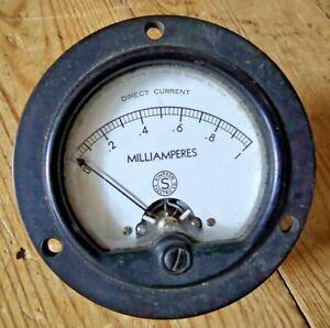VINTAGE MILLIAMPERES DC ELECTRICAL GAUGE  Steampunk Amps Meter Volt Amperes